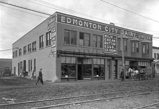 A2596 - View of the exterior of the Edmonton City Dairy, Limited. - ca 1913