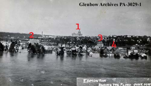 pa-3029-1 - Flood, Edmonton, Alberta. - Rossdale - June 1915 (annotated)