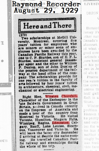 Winston Churchill visits Edmonton - Recorder, August 30, 1929, Page 4, Item Ar00406