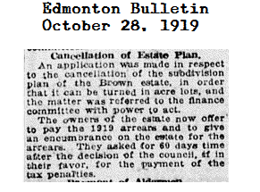 Brown Estate Abandonment - The Edmonton Bulletin, October 28, 1919 (City Edition), Page 3, Item Ar00302