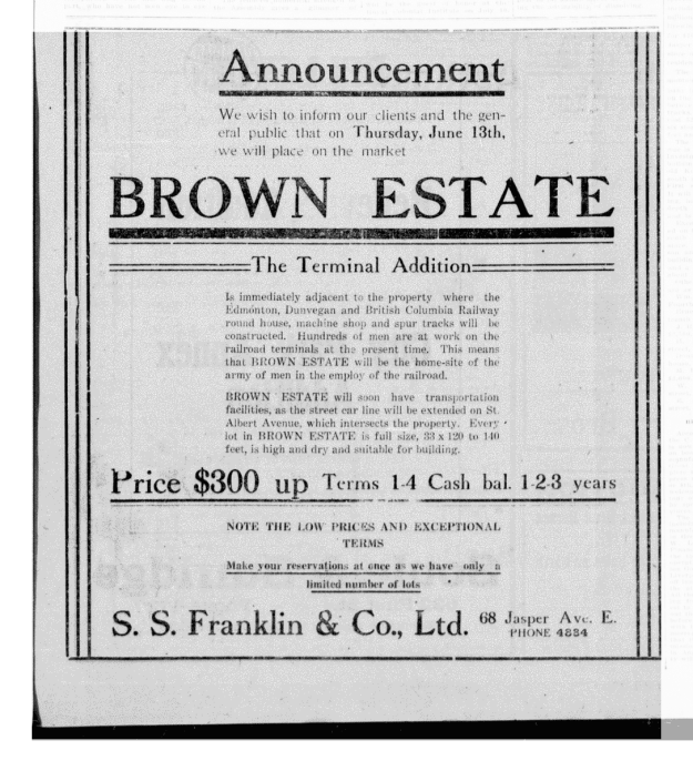 Brown Estate Ad - The Edmonton Bulletin, June 11, 1912 (MORNING EDITION), Page 9, Item Ad00901_1