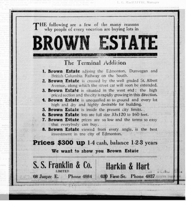 Brown Estate Ad - The Edmonton Bulletin, June 17, 1912 (MORNING EDITION), Page 8, Item Ad00801_3