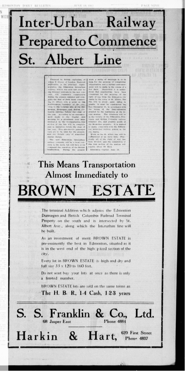 Brown Estate and EIR - The Edmonton Bulletin, June 19, 1912 (MORNING EDITION), Page 9, Item Ad00901_2