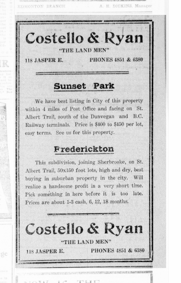 Sunset Park ad - The Edmonton Bulletin, June 15, 1912 (MORNING EDITION), Page 16, Item Ad01601_11