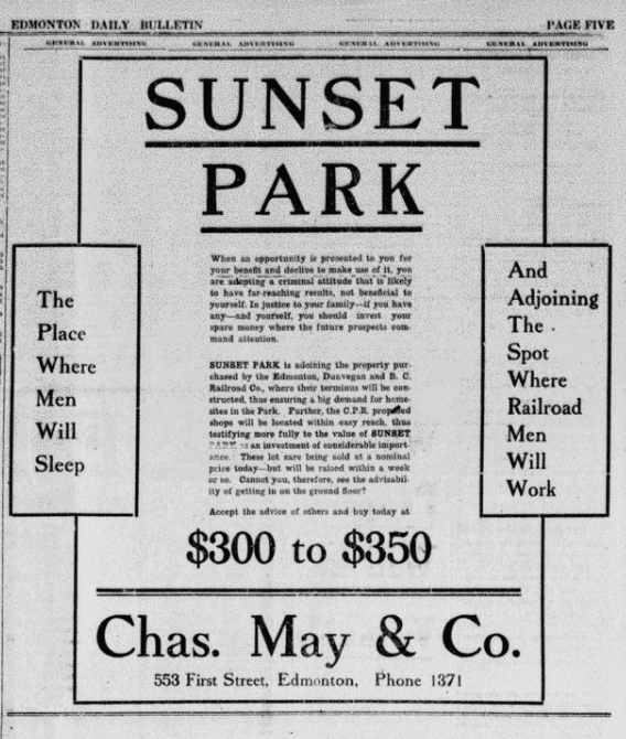 Sunset Park Advertisement